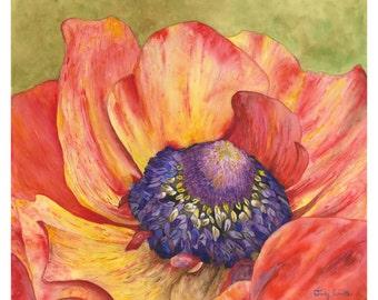 Summer Blaze, Vibrant  Flower watercolor print