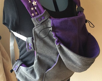 Snap On Hoodie for Soft Structured Baby Carrier - Charcoal/PurpleSparkle