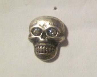Silver Skull Stud Earrings: Upcycled Button