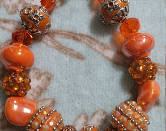 Orange Crush Beaded Bracelet