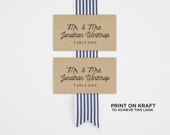 Printable Place Card Template, Wedding Place Cards, Seating Cards,  Printable Template | Table Number, Kraft  | No. EDN 5112