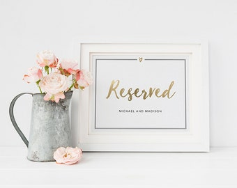Wedding Sign Template, Editable Printable Template, Printable Sign, Wedding | Hand Lettered Gold Foil | 5x7 & 8x10 | No. EDN 2017 Reserved