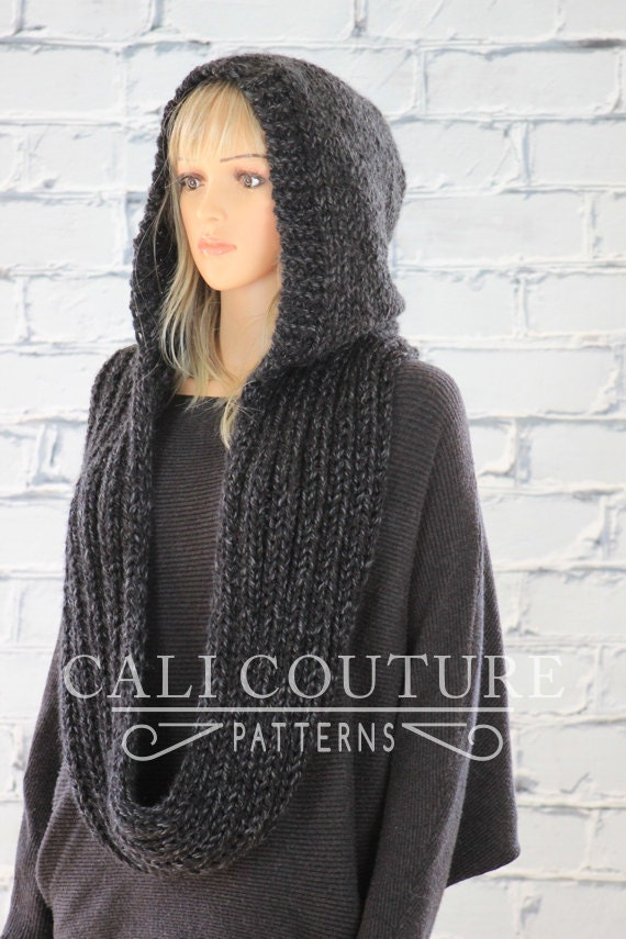 Hooded Scarf Knitting Pattern For Beginners : Knit Hooded Scarf Pattern Montreal Hooded Infinity Scarf