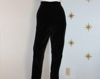 Vintage 1950s black velvet velveteen cigarette ankle high waisted pants XS 83
