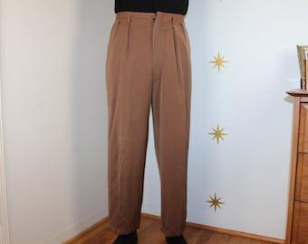 SALE! Vintage 1950s tan gabardine slacks pants high waist S/M 385