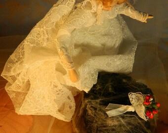 The last leap (1/4) : Le dernier saut/The last leap (ooak porcelain ghost bride doll )
