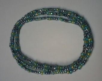 Beaded stretch bracelet, midnight/aqua/lime