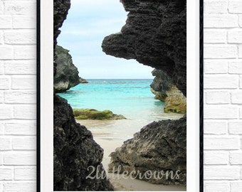 Ocean Photography Bermuda Cave Print 8x10 11x14 Instant Download Ocean Photograph Coastal Decor Beach Decor Nautical Print Beach Printable