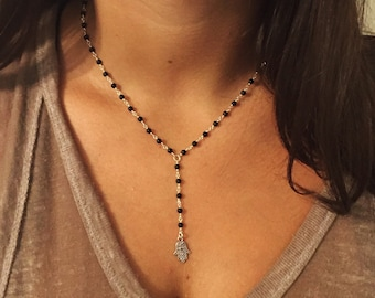 Beaded Chain Drop Down Necklace with Charm
