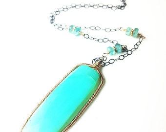Peruvian Opal & Apatite Necklace Pendant Gold Filled Oxidized Sterling One of a Kind