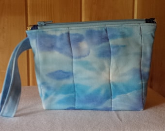 Sky & Clouds Quilted Wristlet