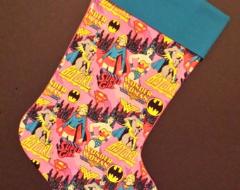 Super Girl, Wonder Woman, Bat Girl Christmas Stocking With A Blue Cuff