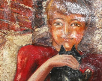 1984 European oil painting child with cat signed