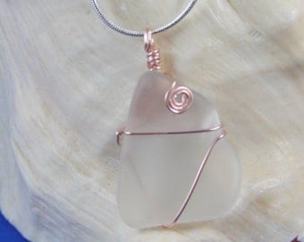 2064N Clear Frosted Sea Glass Necklace