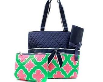 Quilted Geometric Monogrammed Diaper Bag, Monogrammed Tote,Monogrammed Gifts, Personalized Diaper Bag