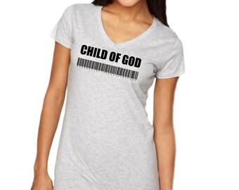KOG Child of God - Gray Lady's Christian T-Shirt, Christian Apparel, Christian Clothing, Lady's Christian Apparel, Christian Shirt