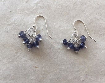 Sterling Silver Iolite Cluster Earrings, Birthday Gifts, Gifts for Her