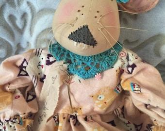 Handmade Mouse Doll, Handmade Primitive Mouse, Art Doll Mouse, Mouse Doll, Primitive Doll, Whimsical Home Decor, Whimsical Decor, Art Decor