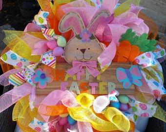 Easter Wreath - Spring Wreath - Front Door Wreath - Pink and Yellow Wreath