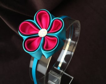Kanzashi flower headband/hair clip, Hair Accessories, Kanzashi style flowers, Hair Clip or band for Babies or Toddlers, Hot pink and Blue