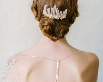 RUE rose quartz bridal comb, boho wedding hair accessory, bohemian modern headpiece