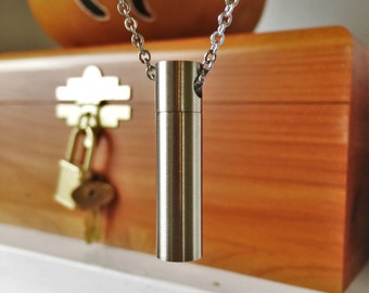 Brushed Stainless Steel Cylinder Cremation Jewelry | Ashes Necklace | Urn Jewelry | Stash Pendant | Necklace For Ashes | Ashes Necklace 2023