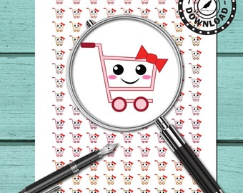 Kawaii Shopping Planner Stickers Printable Planner Stickers (ni68) Instant Download