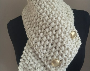 Knitted Cozy Bulky Off White Cowl Neck Warmer Handmade Accessories Ready To Ship