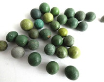 Marbles / Set of 30 green Antique Clay Marbles / Antique marbles. #5E8GEEK7A