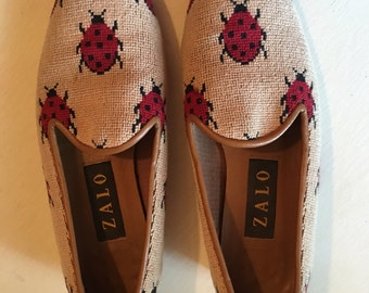 Vintage Lady Bug Needlepoint Shoes | Zalo Loafers | Cute Summer Flats | Trending 2017 Fashion Vintage Critter Flats | Ladies VTG