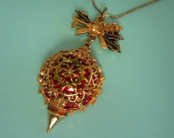 Enamel Holiday, Christmas Ornament Pendant, Necklace
