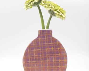 Ceramic Bud Vase Handmade Pink Plaid Pottery