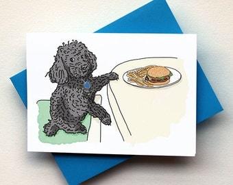 Dog & Hamburger Card - Funny Dog Card