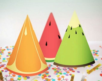 Party Hats Only // Tutti Frutti Party Theme // Downloadable + Printable