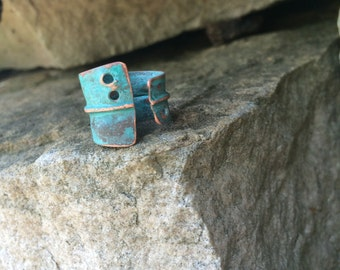 Wide Copper Ring - adjustable artistic hammered rustic fold formed unique one of a kind matte turquoise patina band
