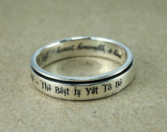 Spinner Ring, Custom Engraving Ring, Personalized Ring, His and Hers, Promise Ring, Custom stamped spinner ring, wedding ring, mothers ring