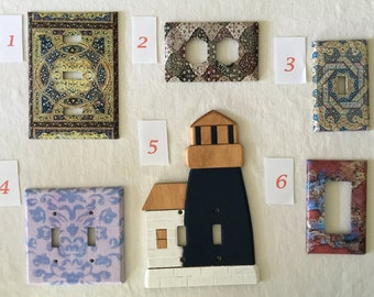 Electric Wall Plates for All Rooms and Decors, (Some available but will also make to order using your choice of size and style.)