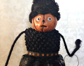 Pumpkin Head Witch, Halloween Doll, Halloween Decoration, Witch Doll