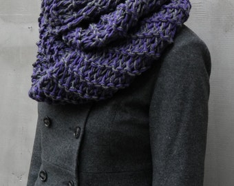 Wool grey purple hand knit oversized chunky infinity cozy scarf, winter crochet cowl scarf, winter accessories, Fashion unique scarves