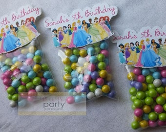 Disney Princess Birthday Party, Personalized Candy Favors (10pc)
