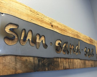 SUN SEEKERS Rustic Sign...Wall Art...Reclaimed Wood...Steel Sign...Handmade...Customize Your order