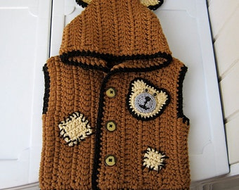 Knitted clothing for baby/Vest baby/knitted vest/Hood/Knitting for children/ Brown jacket with a hood/Baby Gift/Cheerful  gift/Ready to ship
