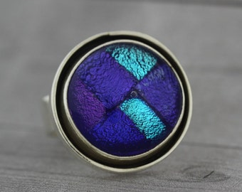 Fused Glass Jewelry - Electric Blue Enamel Sterling Silver Domed Ring