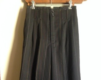 Multi-colour Pin Stripe Black Suit Pants - Wide Leg - High Waisted