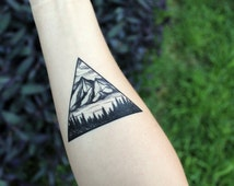 Triangle Mountain & Pine Forest Scene, Temporary Tattoo, Black Line, Nature Tattoo