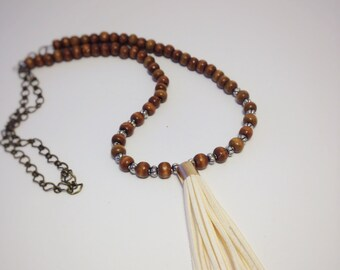 wood and tassel necklace, wood necklace, wood bead necklace