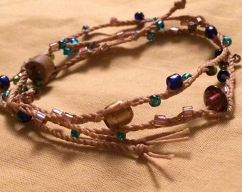 Braided and Beaded Bracelet with Earth Tones