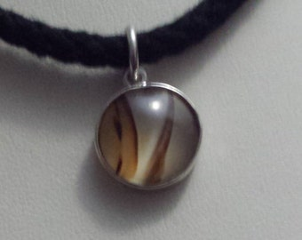 Handmade Sterling Silver and Banded Agate Pendant