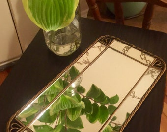 Antiqued Decorative Mirror Tray Flanked By Wrought Iron Heart Accent Corners