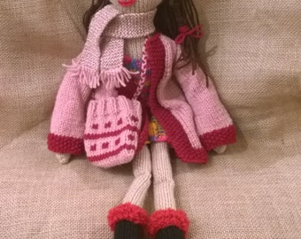 """Hand Made knitted Rag Doll -  19"""" Tall"""